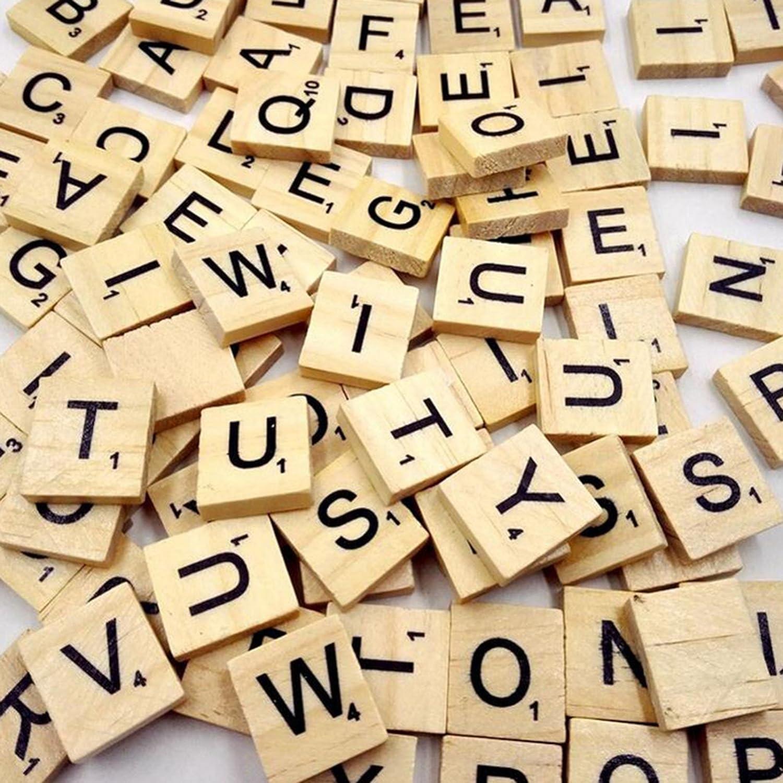 KingSaid Letras de Scrabble Madera Scrabble Azulejos 200 x Piedras de Scrabble Alfabeto de Tablero: Amazon.es: Juguetes y juegos