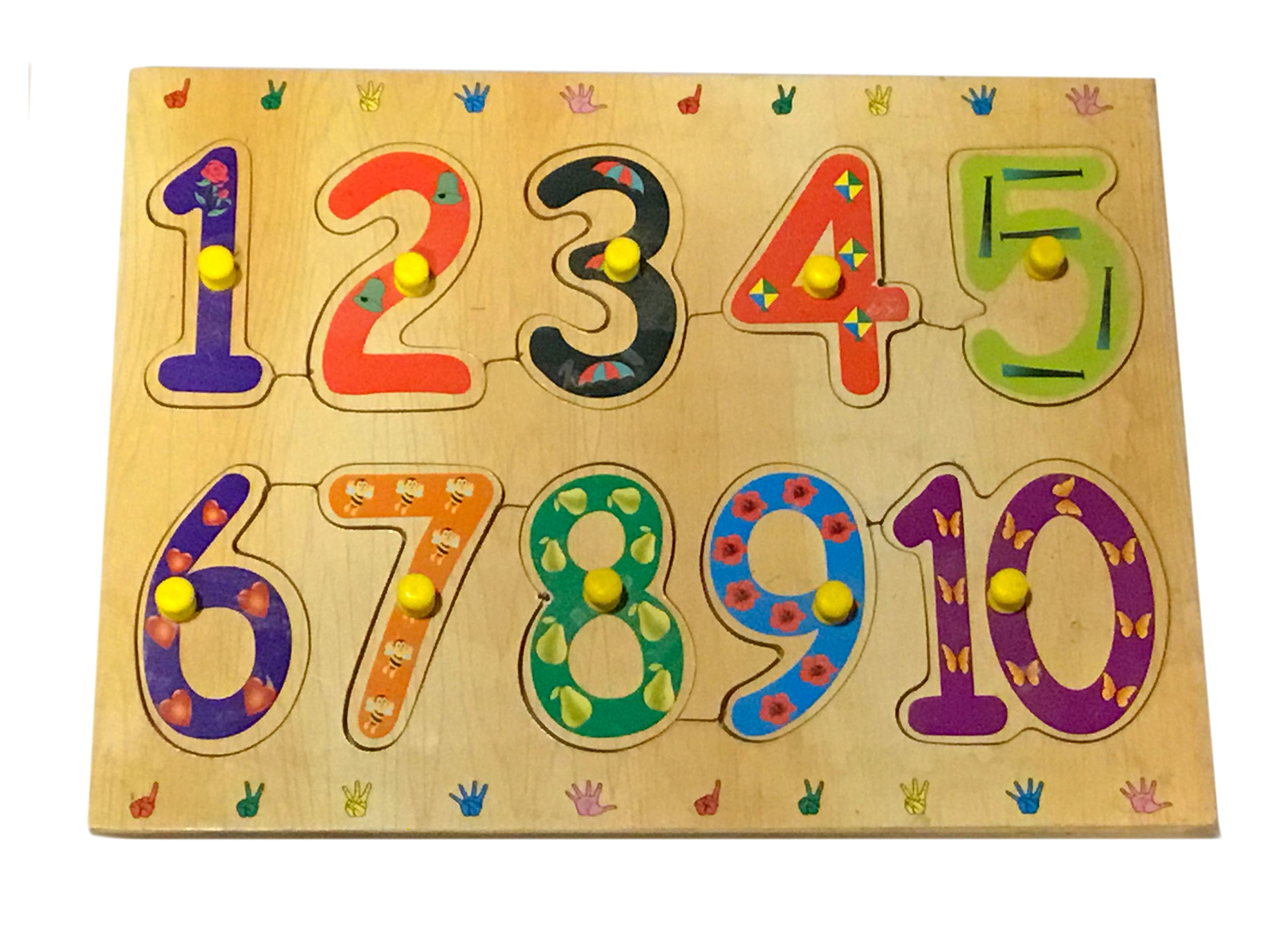 Mojopanda Wooden 1-10 Number Shape Tray with Knobs, Multi Color Peg Puzzle Educational Toy