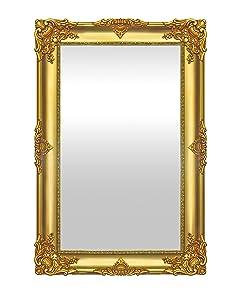 999Store Decorative Fibre Wall Mirror (57.51 cm x 2.01 cm x 84 cm, Golden)