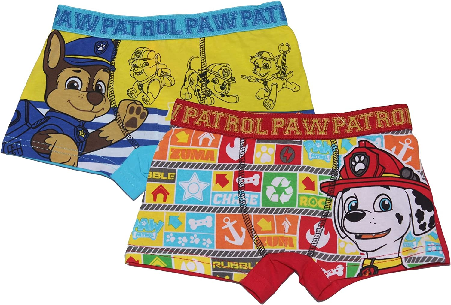 Paw Patrol Boys Childrens Two Pack Boxers Underwear Set 6-8 Years