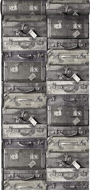papel pintado maletas vintage negro y gris - 138216 - de ESTAhome.nl: Amazon.es: Bricolaje y herramientas
