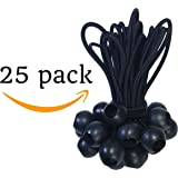 25 Pack Ball Bungee 6 inch Black | HeavyWeight 6'' Tarp Bungee Cords | Weather Resistant Tie Down Strap 5mm Thickness | For Camping, Tents, Cargo, Holding Wire and Hoses