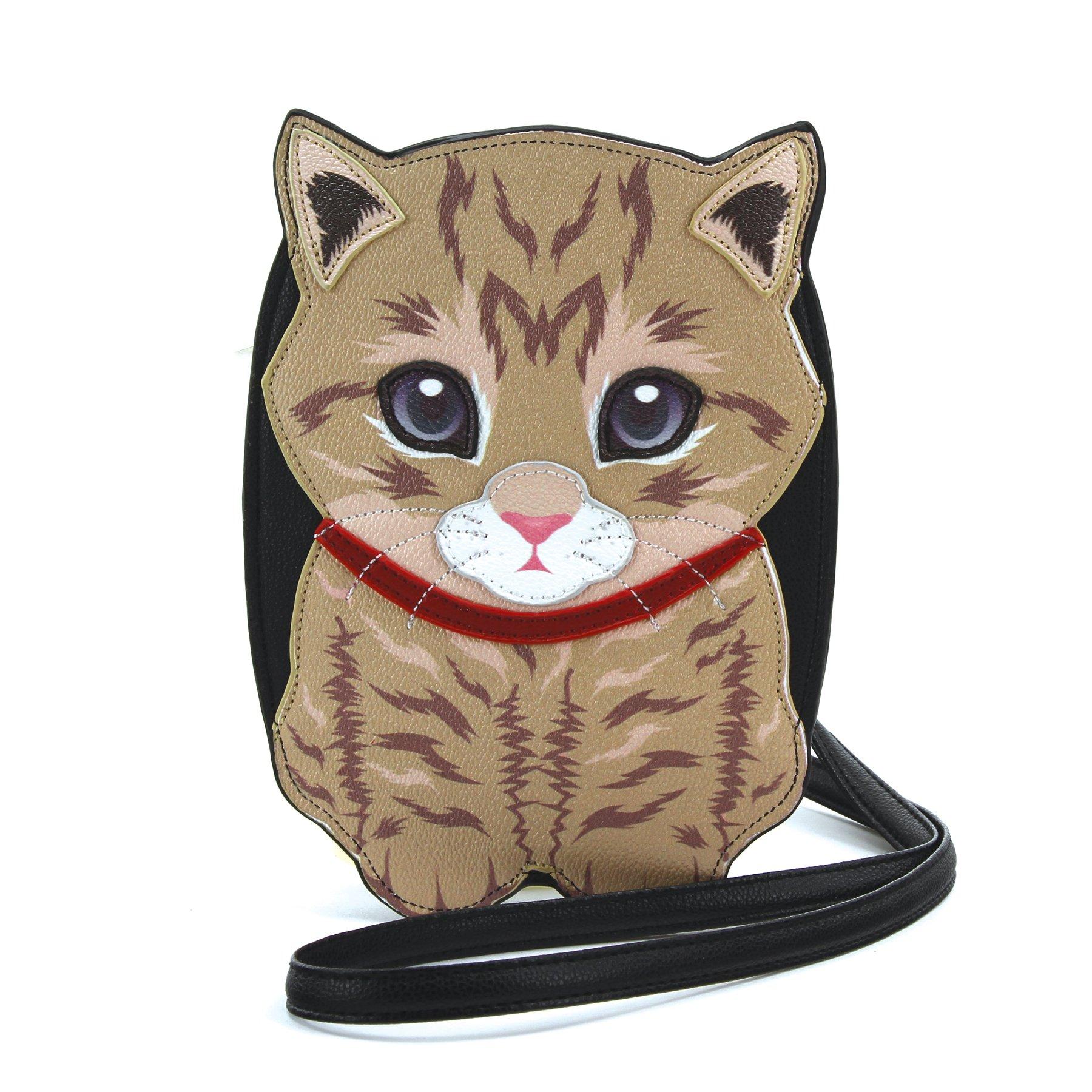 Sleepyville Critters - Tabby Cat Cross Body Bag in Vinyl Material