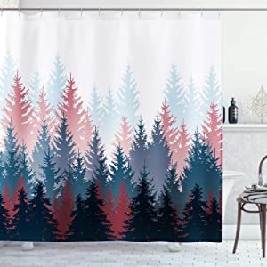 AMBZEK Watercolor Forest Shower Curtain Fog Mountain Scenery Nature Cloth Pine Tree Fabric Bathroom Decor Set with 12 Pack Hooks 60x71 inch,Red Blue