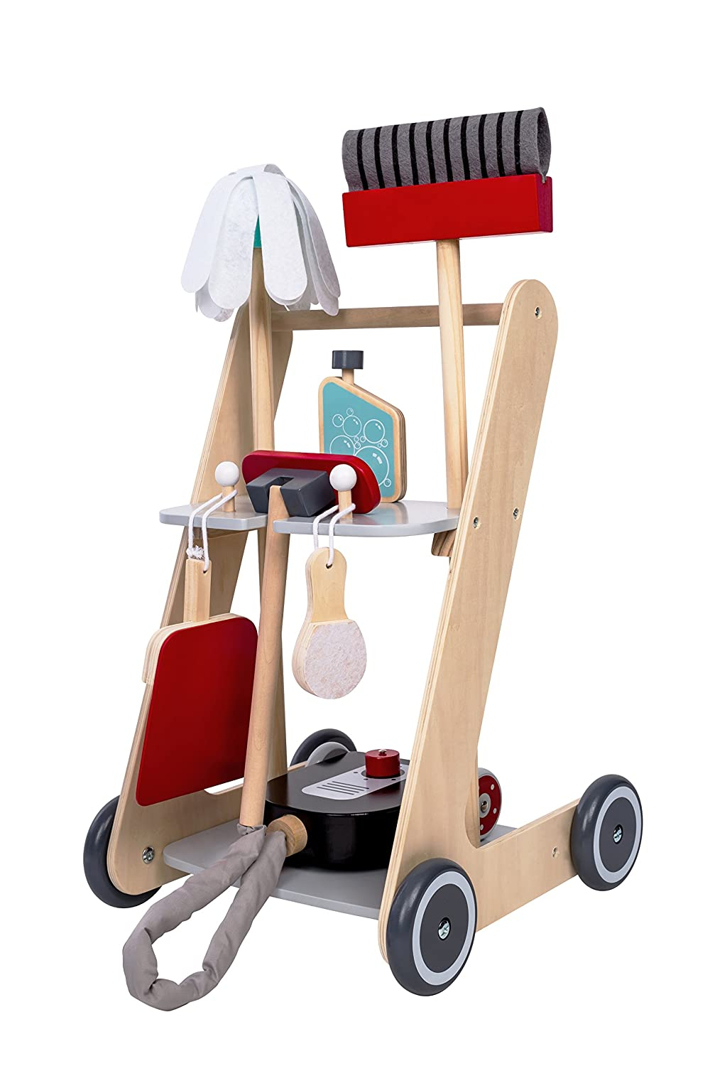 MMP Living Pretend Play Cleaning Cart - 7 Pieces, Wood