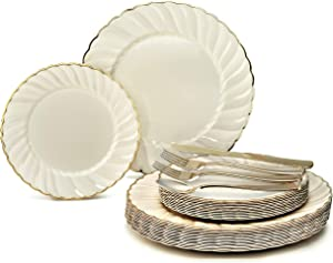 """"""" OCCASIONS"""" 150pcs set (25 Guests)-Vintage Wedding Party Disposable Dinnerware Set Plastic Plates & Silverware w/double fork -10.25'', 7.5'' (Blossom Ivory & Gold Rim)"""