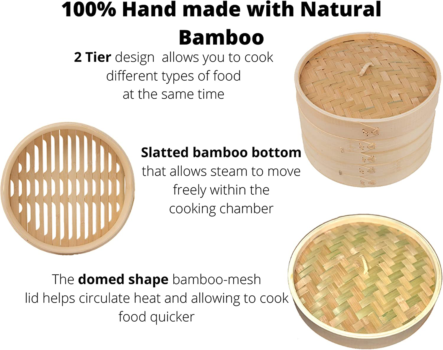 Buns Dumpling Bamboo Steamer Basket 10 Inch-100/% Hand made with natural Bamboo Material-2 Tier Bamboo steamer-Healthy cooking for Vegetable Included 10 pcs liner papers Fish Chicken meat and more