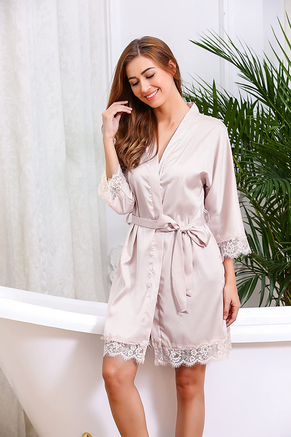 4878af9161 Hotouch Womens Bathrobes Short Kimono Robe Bridesmaids Satin Sleepwear  Silky Lace Trim Lingerie with Oblique V