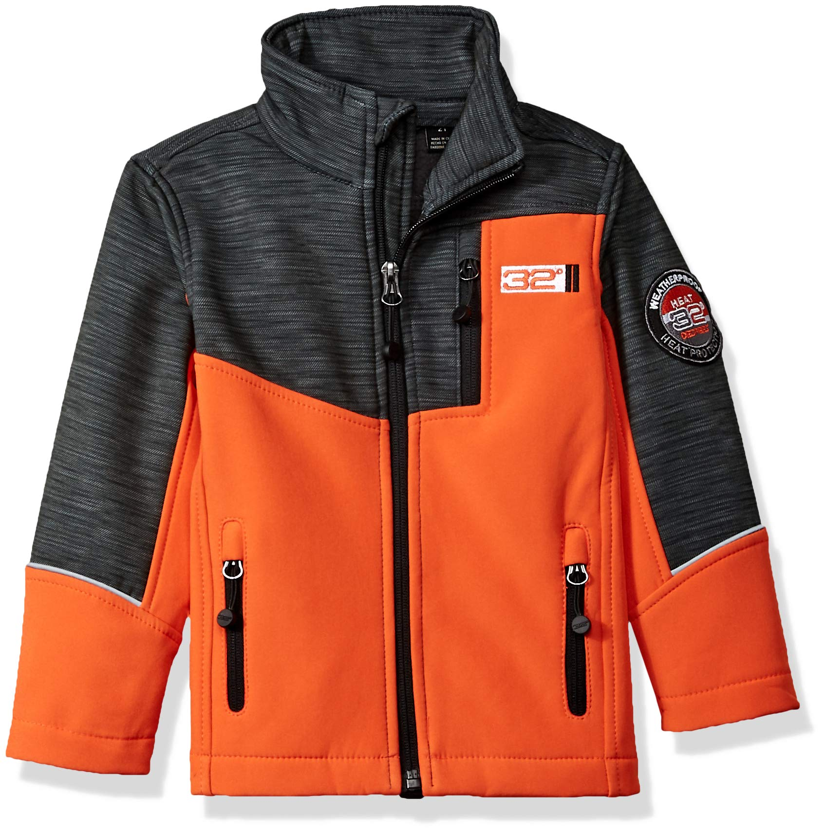 32 DEGREES Weatherproof Weatherproof Little Boys Outerwear Jacket (More Styles Available), Zip Pockets Orange, 4 by 32 DEGREES (Image #1)