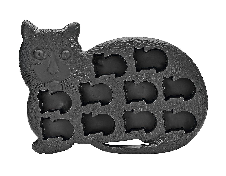 Fairly Odd Novelties Novelty Gag Gift Cat Kitten Shape 10-Ice Cube Tray Mold, Rubber, Black FON-10010
