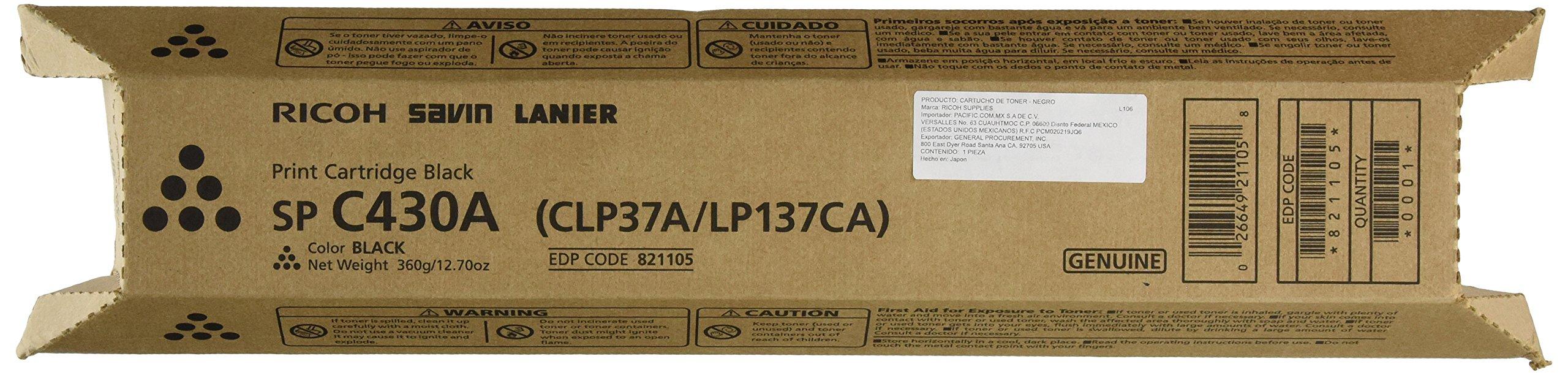 Ricoh Black Toner Cartridge, 21000 Yield (821105)