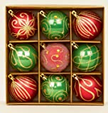 Set of 9 red & green Christmas tree baubles 6cm by Premier