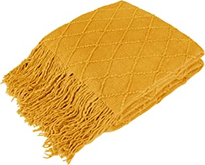 PAVILIA Knitted Throw Blanket with Fringe   Decorative Blanket with Tassels for Couch Bed Sofa   Soft Lightweight Plush Fuzzy Cozy Textured Throw   Mustard Yellow, 50 x 60 Inches