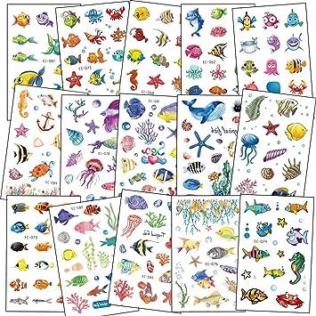 SZSMART Tatuajes Temporales, 160pcs Dibujos Animados Animal ...