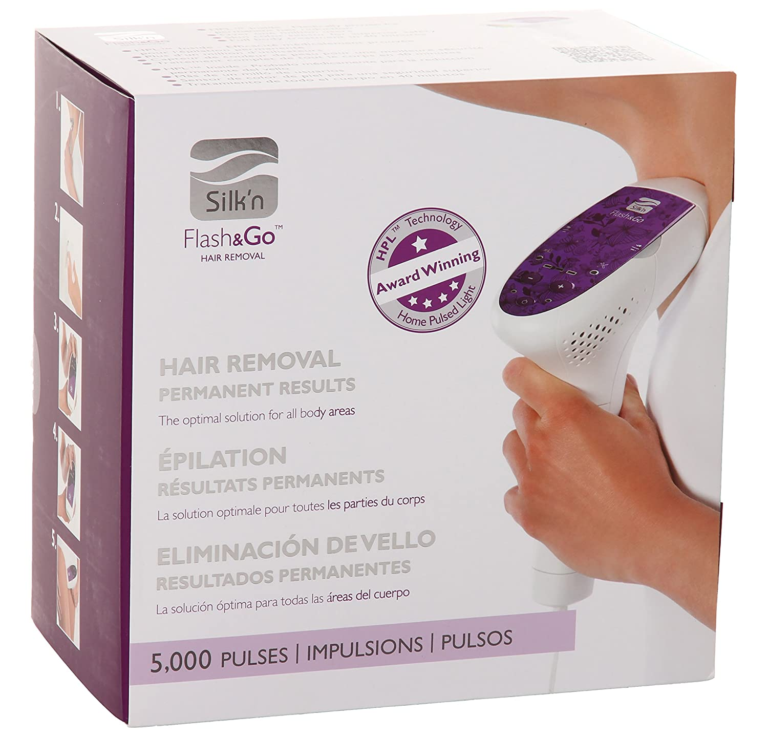 Silk'n Flash&Go - At Home Permanent Hair Removal Device for Women and Men -  5,000 Pulses