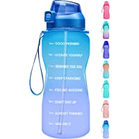 Fidus Large Half Gallon/64oz Motivational Water Bottle with Time Marker & Straw,Leakproof Tritan BPA Free Water Jug…