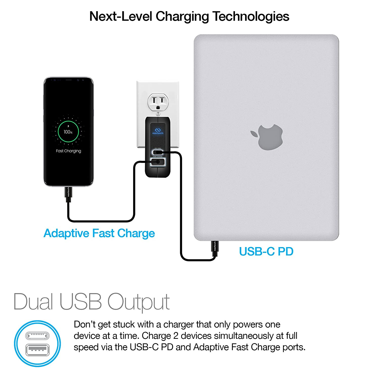 Amazon.com: Naztech 18W USB-C PD + Adaptive Fast Wall Charger - Universal Micro USB, Dual Ports for iPhone X / 8/8 Plus, MacBook,iPad, Samsung S9 / S9+ / S8 ...