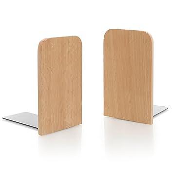 MyGift Set de 2 Natural madera de haya escritorio de la oficina sujetalibros, decorativo estantería pantalla organizadores: Amazon.es: Oficina y papelería