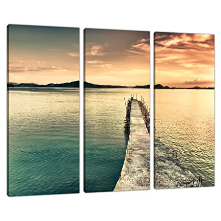 Set of Three Panel Teal Canvas Wall Art Pictures Landscapes Print ...