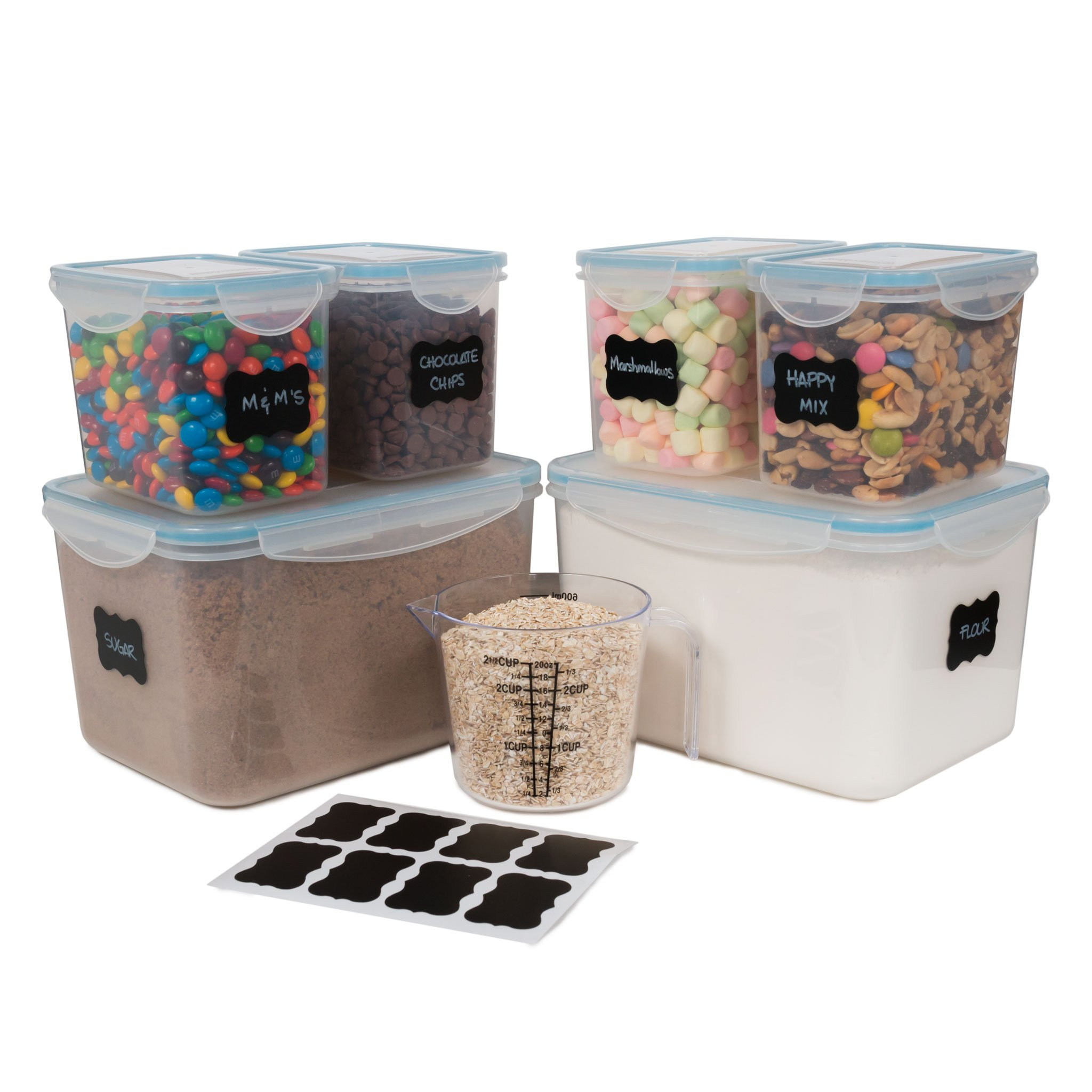 gabmi airtight large food storage containers set of 6 ideal for flour 662187982311 ebay. Black Bedroom Furniture Sets. Home Design Ideas