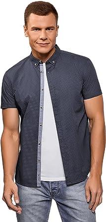 oodji Ultra Hombre Camisa Entallada con Pequeña Decoración ...