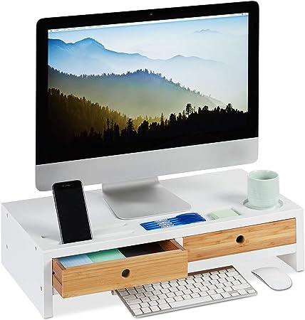 in bamb/ù 60 x 8,5 x 30,2 cm Supporto per Monitor Portatile L x A x P SONGMICS LLD201