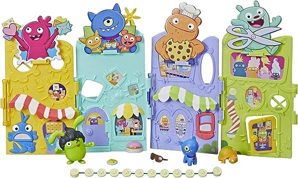 Hasbro Uglydolls Uglyville Unfolded Main Street Playset & Portable Tote, 3 Figures & Accessories
