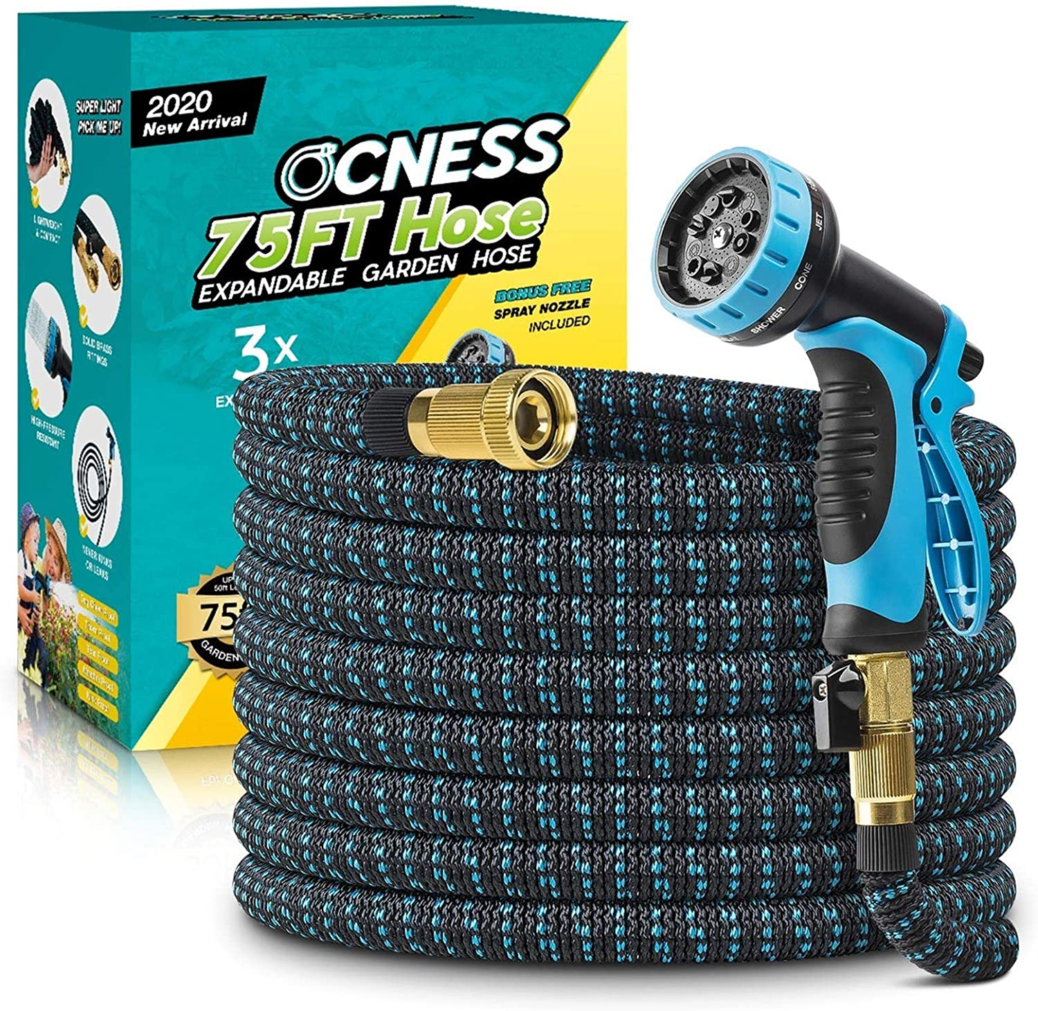 Expanding Hose for Lawn Car Pet Washing Durable Fabric 75ft Lightweight Flexible Water Hose with 9 Function Spray Nozzle Double Latex Core OCNESS Expandable Garden Hose 3//4 Solid Brass Fittings