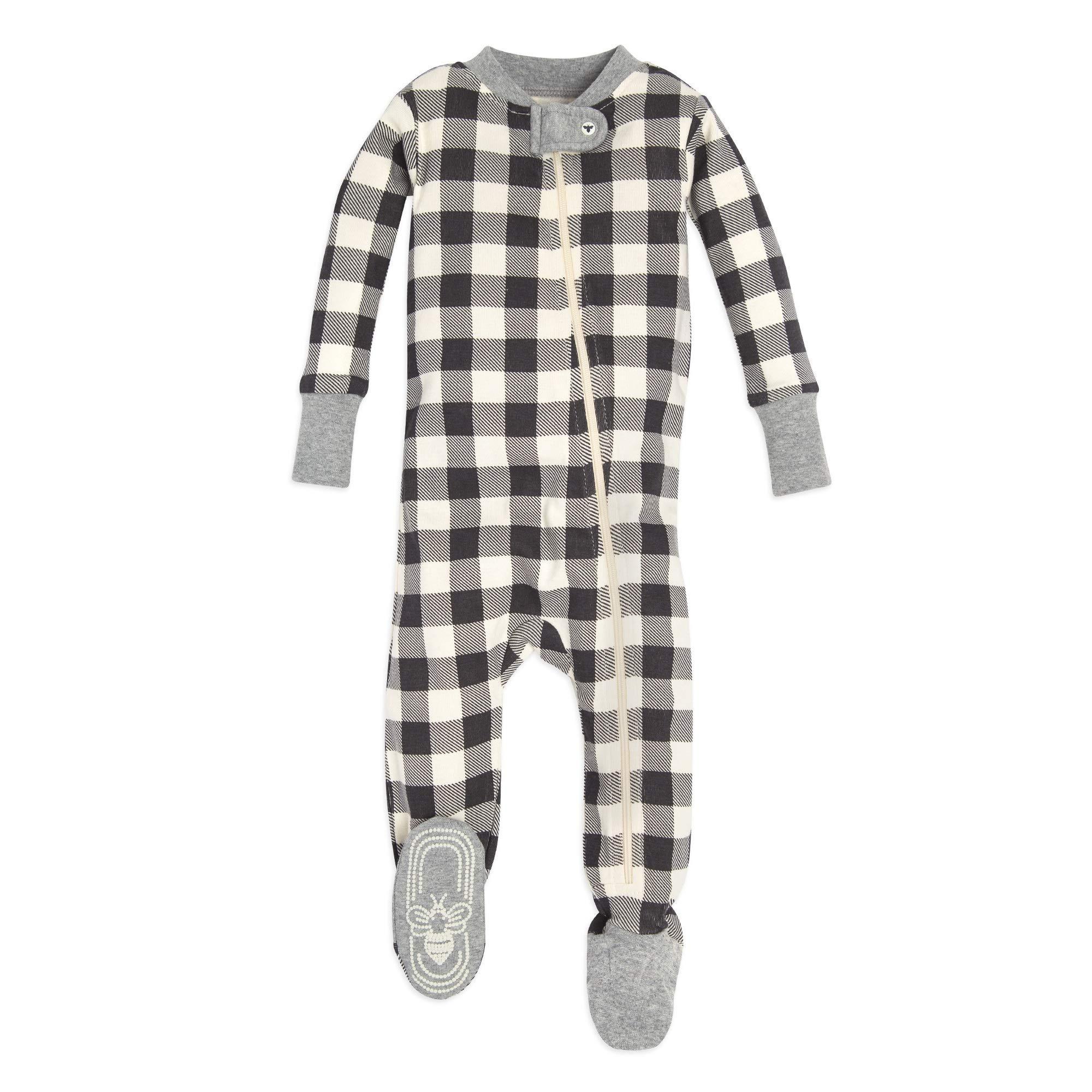 Newborn Midnight Twinkle Bee Zip-Front Non-Slip Footed Sleeper PJs Organic Cotton Burts Bees Baby Baby 1-Pack Unisex Pajamas