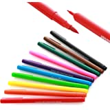 Double Sided Food Coloring Markers, Food Grade Markers and Pens, Edible Ink for Decorating Cakes, Cookies, Frosting, Fondant, Easter Eggs, Fine Tip and Thick Tip, 10 Colors, by Chefmaster