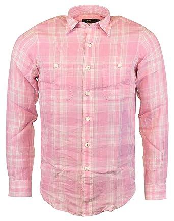 09494f5ff5 Polo Ralph Lauren Mens Linen Plaid Button-Down Shirt at Amazon Men s  Clothing store