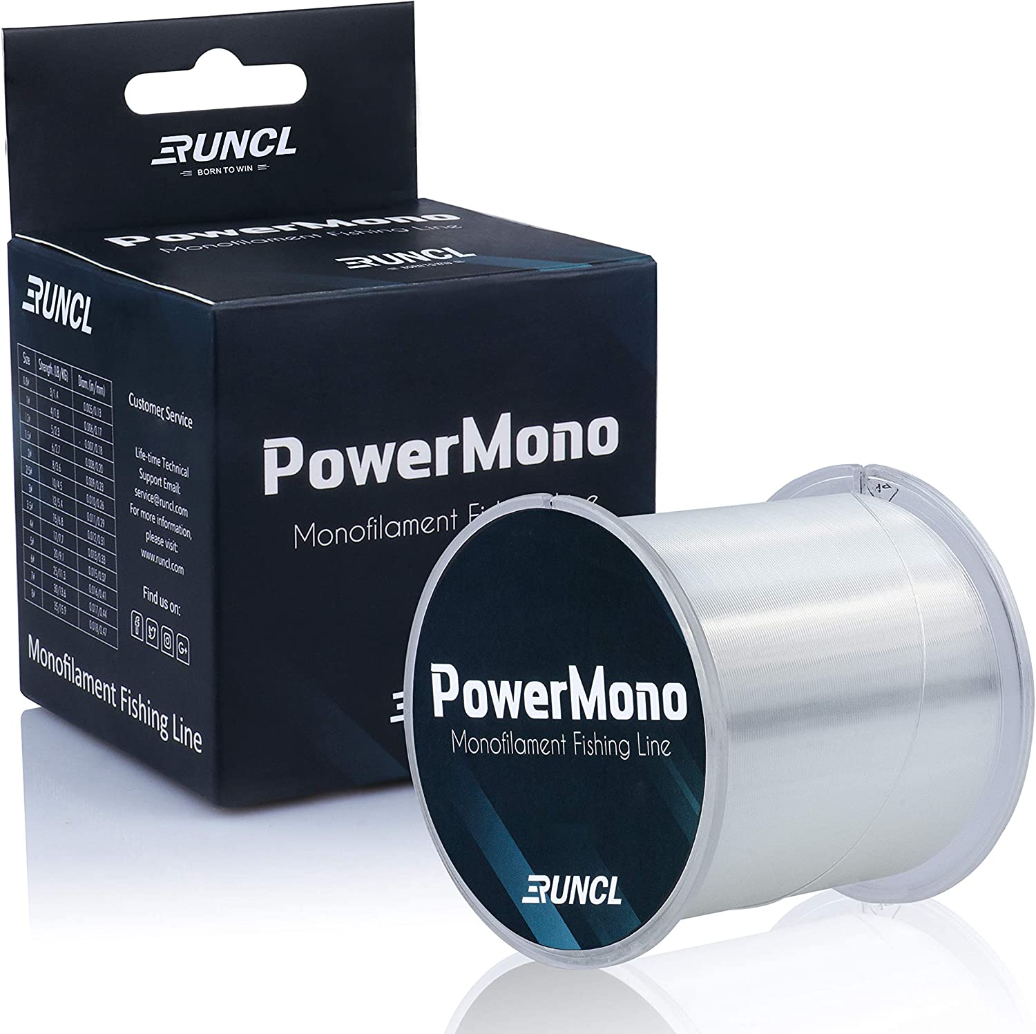 RUNCL PowerMono Fishing Line, Monofilament Fishing Line 300/500/1000Yds - Ultimate Strength, Shock Absorber, Suspend in Water, Knot Friendly - Mono Fishing Line 3-35LB, Low- & High-Vis Available : Sports & Outdoors