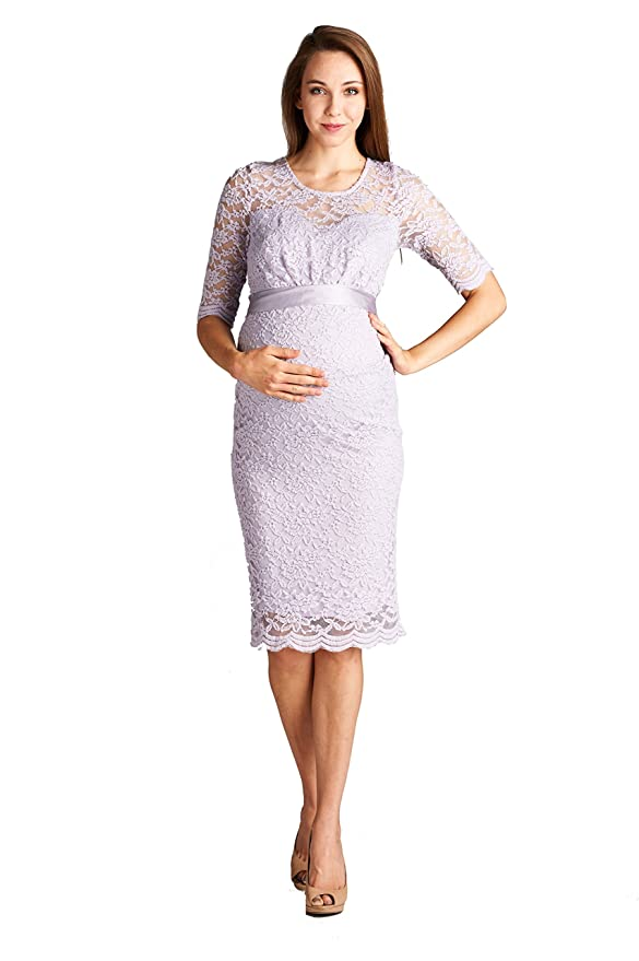 3b962a2e562a9 Floral Lace Fitted Formal Maternity Dress Lavender M: Amazon.ca: Clothing &  Accessories