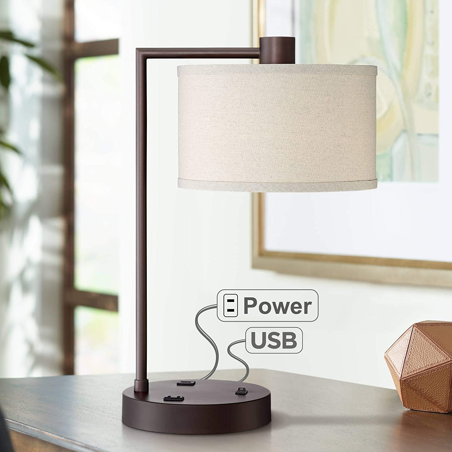 Superb Colby Modern Desk Table Lamp With Usb And Ac Power Outlet In Base Bronze Metal Linen Uno Fitter Drum Shade For Living Room Bedroom Bedside Nightstand Download Free Architecture Designs Embacsunscenecom