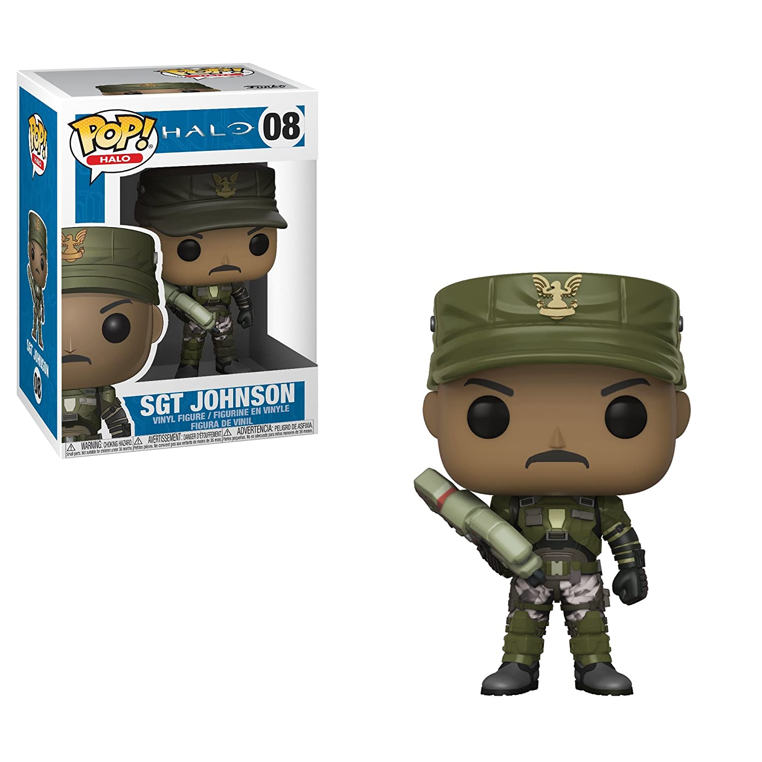 Funko POP! Games: Halo Sergeant Johnson (Styles May Vary) Collectible Figure, Multicolor