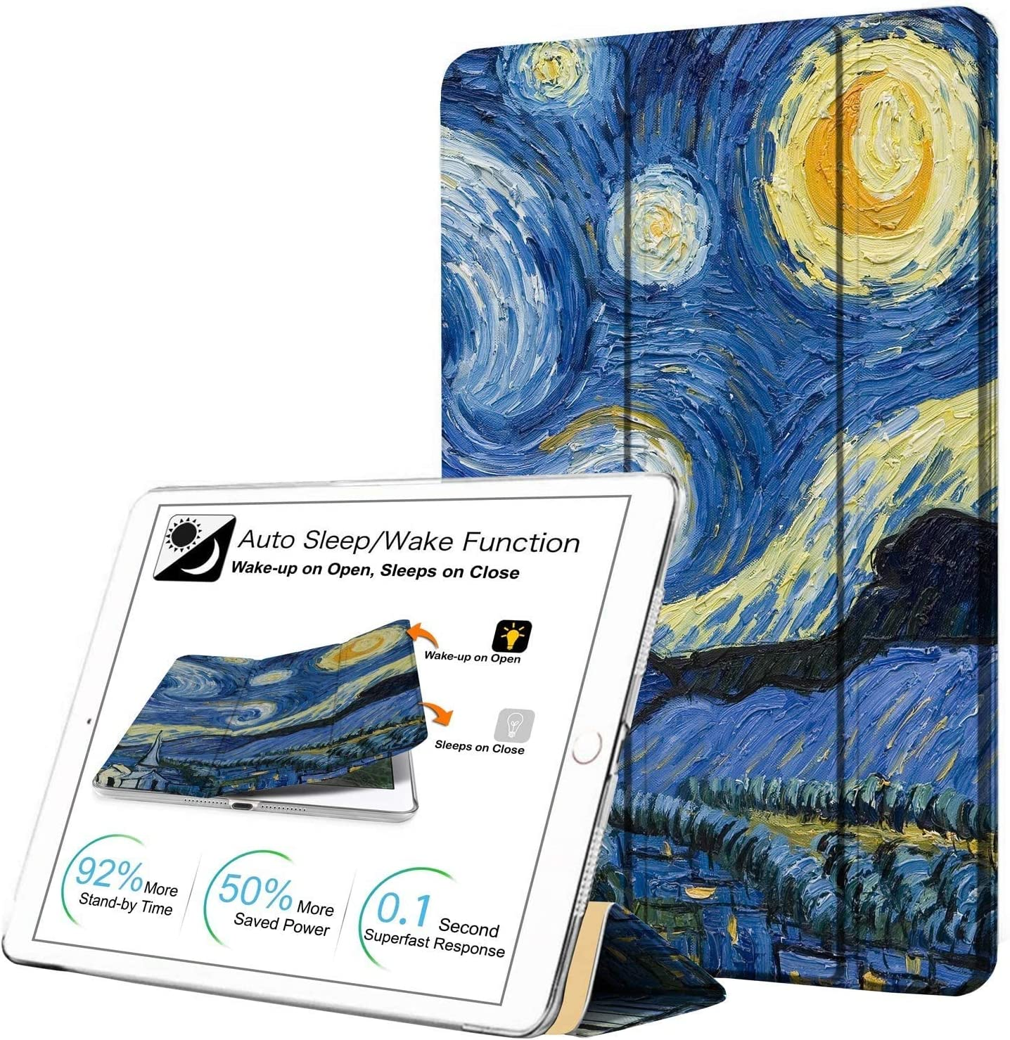 DuraSafe Cases For iPad PRO 12.9 - 1 Gen Slimline Series Lightweight Protective Cover with Dual Angle Stand & Clear PC Back Shell - Starry Night