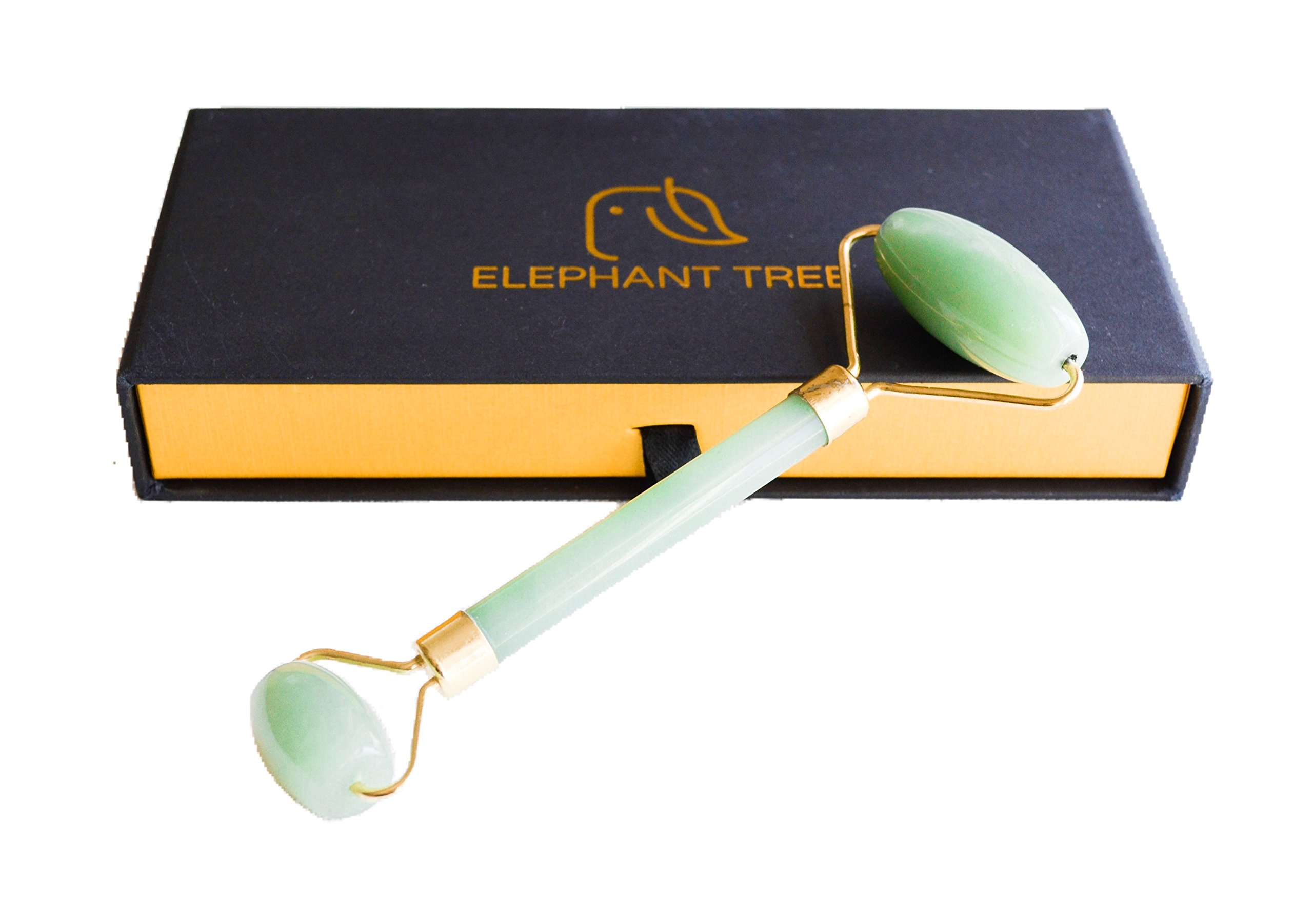 Elephant Tree Jade Roller for Facial Therapy Anti Aging 100% Natural Premium Jade Stone Roller - Handmade Face Massager Anti Wrinkle Jade Roller for Face