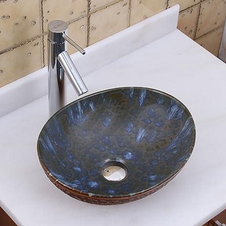 Exceptionnel Elite 1553 2659 Oval Brown Cloud Glaze Porcelain Ceramic Bathroom Vessel  Sink With Faucet Combo Chrome