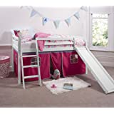 Cabin Bed White Mid Sleeper Bunk with Slide Pink Tent 6007WHITE