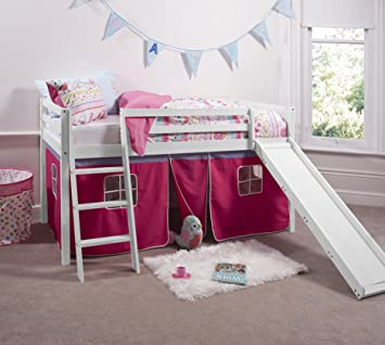 d0a16f503725 Noa and Nani - Midsleeper Cabin Bed with Slide and Pink Tent ...