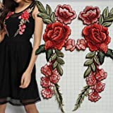 2 Pcs Red Green Flower Applique Embroidered Patch Collar Floral Appliques Sew on Patches Sewing DIY Clothing Accessories Craft Kids Clothing Hat Bag Decor (Red-Green)