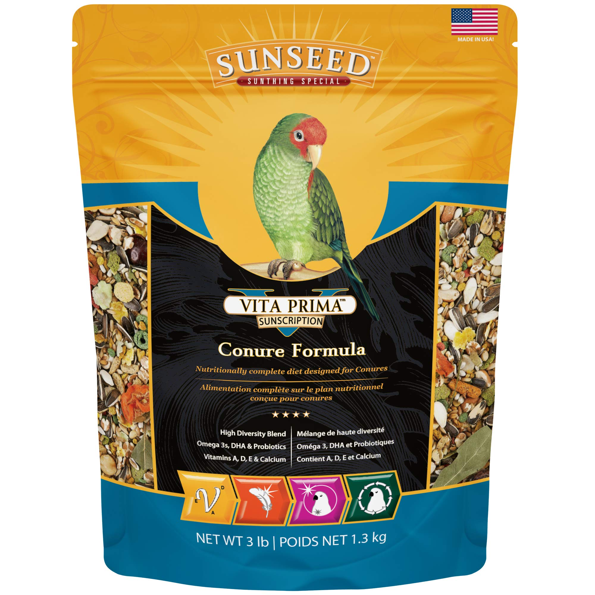 Sunseed 49040 Vita Prima Sunscription Conure Food - High-Variety Formula, 3 LBS by Sunseed