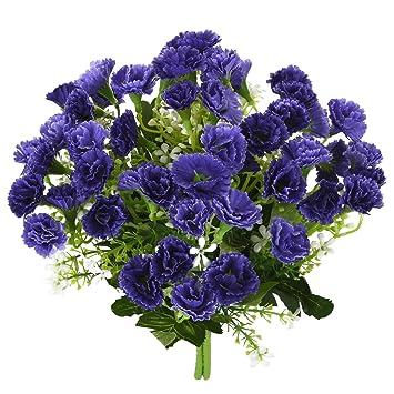 Artificial Flowers Fake Silk Carnations SOLEDI 2 Bunch 25 Stem Plastic Flower Arrangement Wedding Party
