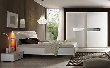 Schlafzimmer mit Bett 160 x 200 cm weiss hochglanz/ weiss ...
