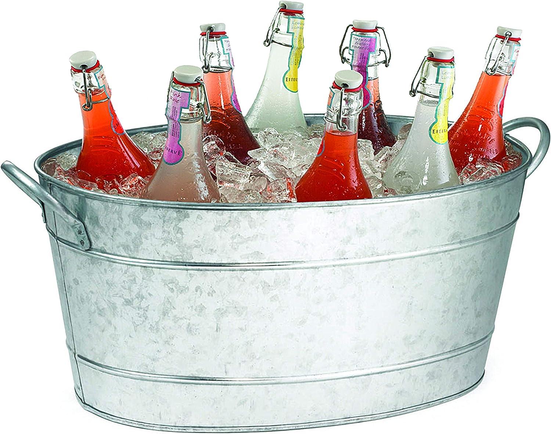 TableCraft Galvanized Oval Beverage Tub, 22.8 x 14.5 x 9.5-Inch