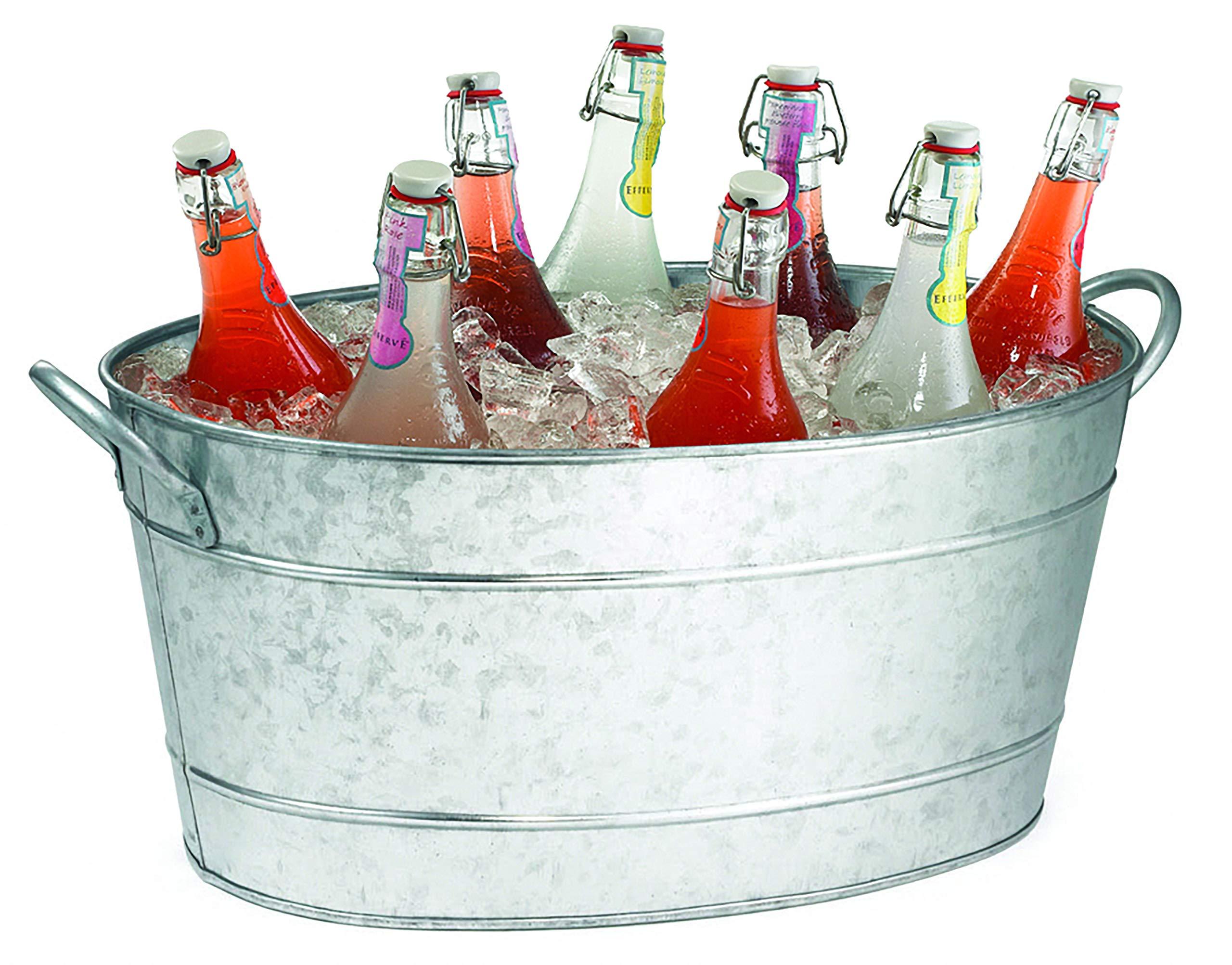TableCraft HBT1914 Galvanized Oval Beverage Tub, 22.8 x 14.5 x 9.5-Inch by Tablecraft