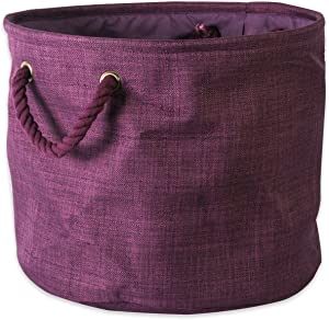 DII 5568 Collapsible Variegated Polyester Storage Bin, Medium Round, Eggplant