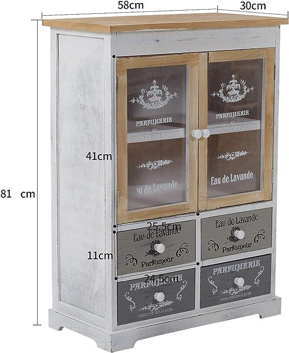 Code RE4479 Rebecca Srl Sideboard Schrank 2 T/üren 4 Schubladen Wei/ß Beige Retr/ò K/üche Wohnzimmer