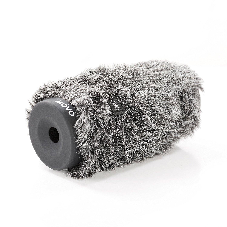 マイク用Movo WS-G140毛皮のような硬質ウインドスクリーン直径18-23mm、最大5.5インチ(14cm)まで - ダークグレー B01J6HH7X0