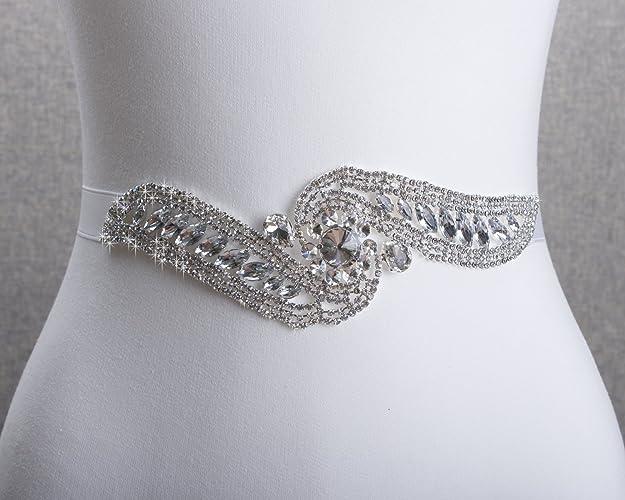 Amazon.com: Wedding Sashes,Bridal belt,Rhinestone Lace Bridal Sash ...